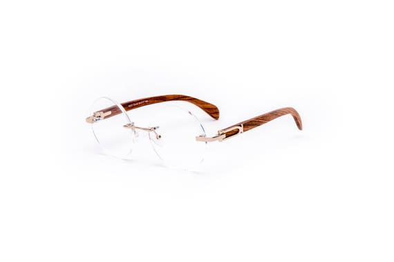 85d0143e158e97 Vintage Wood Collection Round Rimless Glasses Gold Frame   Etsy