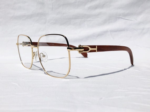 9d9ce130fc Gold and Wood Eyeglasses Cartier Style Glasses Frames Gold