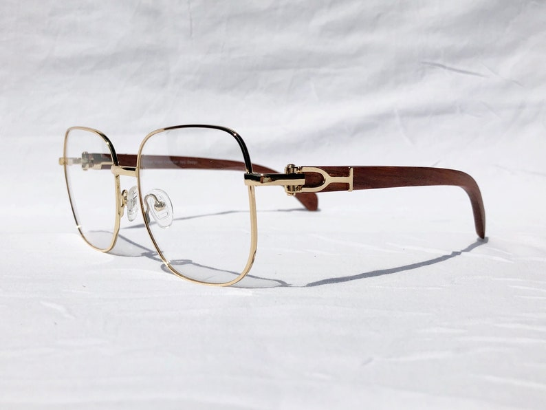 83990949d688 Gold and Wood Eyeglasses Cartier Style Glasses Frames Gold