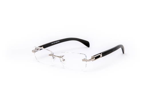 7b8281d8c69 Vintage Wood Collection Rectangular Rimless Silver Frame