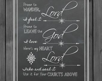 Come Thou Fount | | farmhouse style | hymn | digital art | chalk | wall decor | handmade | wall art | home decor | gift | printable