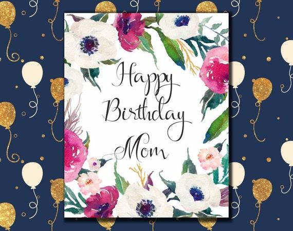 Happy Birthday Mom Card Printable Birthday Greeting Card For Etsy