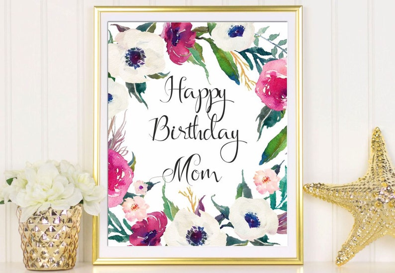 Happy Birthday Mom Card Printable Greeting For