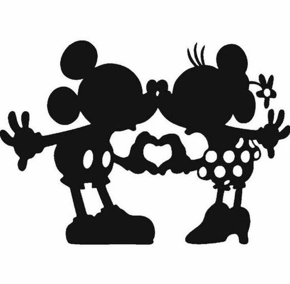 Mickey Et Minnie Kissing Coeur Mains Decal
