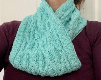 Cable Knit Cowl Pattern, Cozy Cable Neck Wrap, Knit Circle Scarf Pattern, Cabled Cowl Knit Pattern, Knitted Cowl Scarf, DIY Knit Cowl