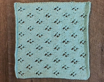 Knitted Square #5, Knitted Patchwork Blanket Square, Cat's Paw Stitch, Quatrefoil Lace Knit Square, Sampler Afghan Square, Knit Throw Square