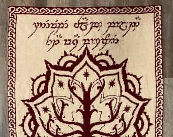 The Lord of the Ring, White Tree of Gondor, Double Knit Lap Blanket Pattern, Reversible JRR Tolkien Knit Pattern, Sindarin Elvish Writing
