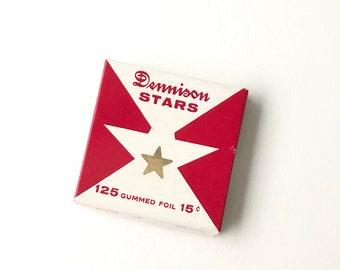Vintage Dennison Stars // Gold Stars // Gummed Stars // Star Stickers