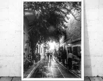 Greece print, Athens printable art, black & white photography, people photography, Athens wall art, plaka anafiotika print, digital download