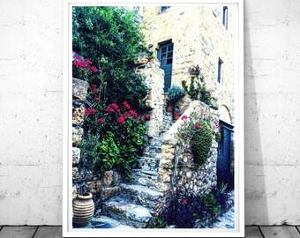 Blue Door Print, Door photography, Greece Print, bougainvilleas Wall art, Monemvasia Art, Mediterranean Decor, Digital  download