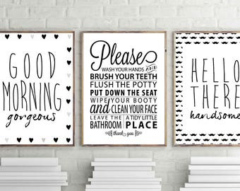 High Quality Bathroom Wall Art, Goodmorning Gorgeous Print, Hello Handsome Print,  Bathroom Rules Wall Decor, Set Of 3 Bathroom Posters, Minimal Art