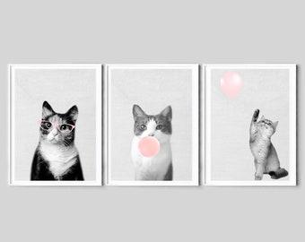 Nursery Wall Art Decor Cat Print Peekaboo Art Large Printable Kids Room Poster Digital Download Feline Household Pet Photo Baby Shower