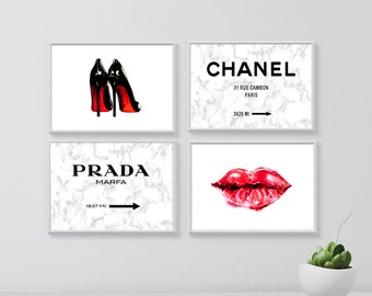 chanel fashion print, coco chanel rue sign wall art, prada marfa sign poster, marble printable art, make up wall decor, lips, chanel heels