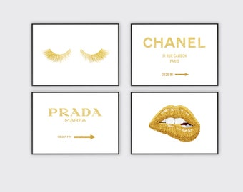 b5f83fe819c coco chanel print, gold fashion wall art, chanel rue sign wall art, prada  marfa sign poster, lips, eyelashes poster, set of 4 printable art