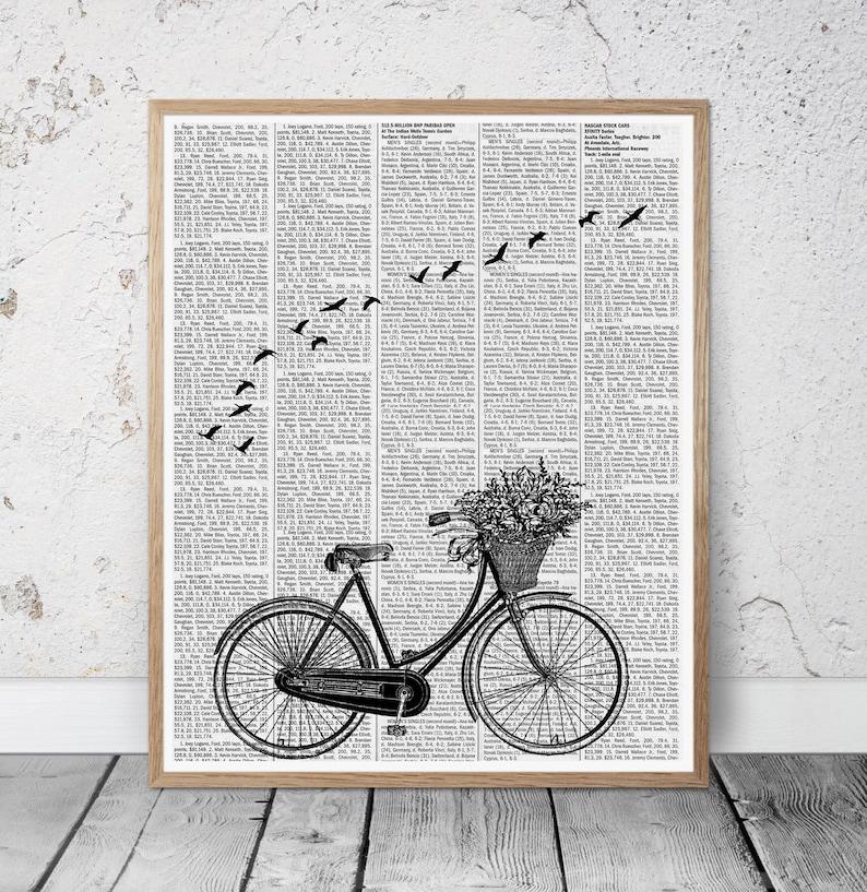 Bike vintage print birds abstract art birds wall art newspaper image 0