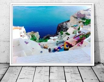 Santorini Print, Greece wall art, ocean photography, coastal wall decor, Greek island print, Santorini Photo,white and blue digital download