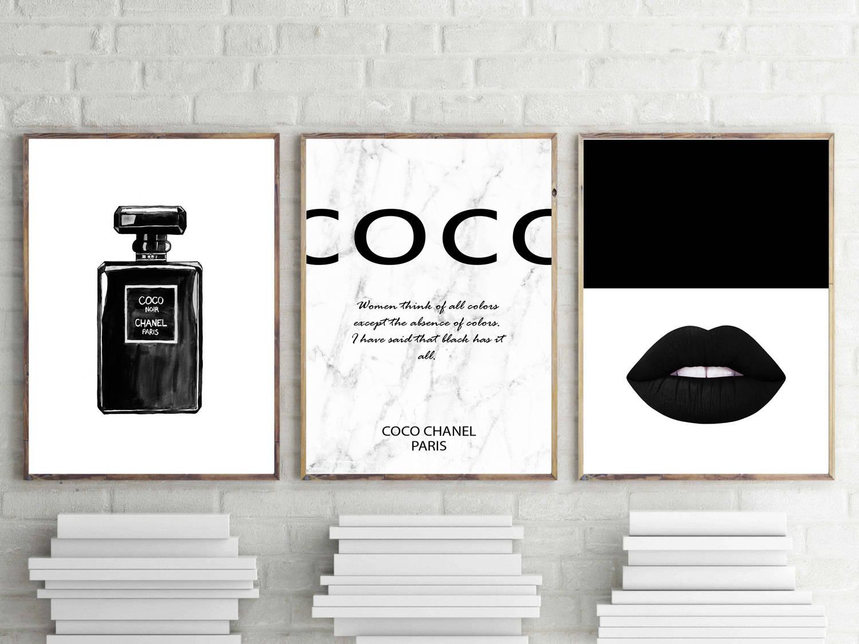 Coco chanel prints set of 3 wall art fashion poster coco   Etsy