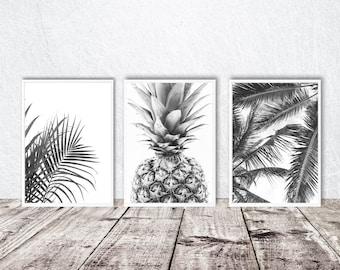Palm leaves printable art, set of three, tropical prints, pineapple poster, black and white, minimal decor, palm tree wall art, digital art