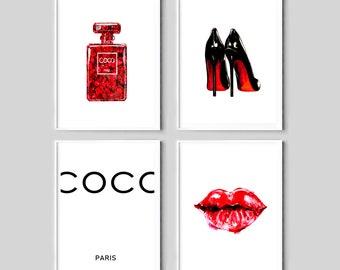 fashion prints, coco paris wall art, red black posters, set of 4, coco chan perfume printable, vanity decor, lips, heels art,fashion digital