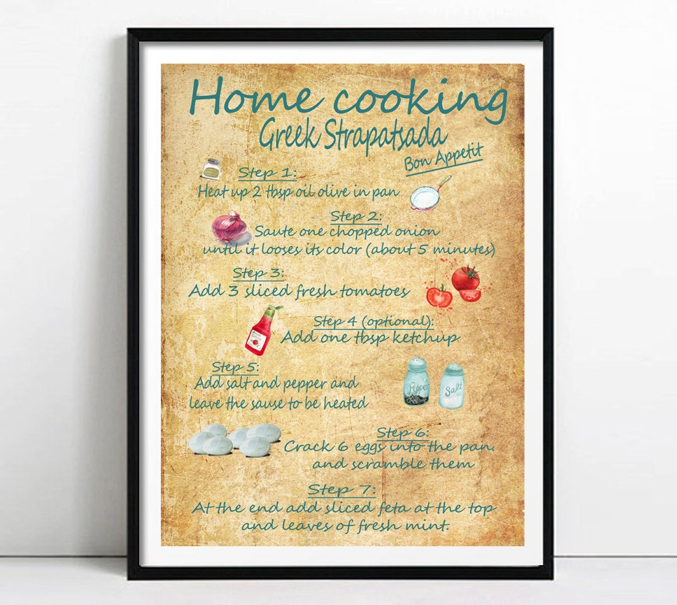 Kitchen Poster Food As Alphabet With Food Name: Recipe Print Kitchen Wall Art Greek Recipes Print