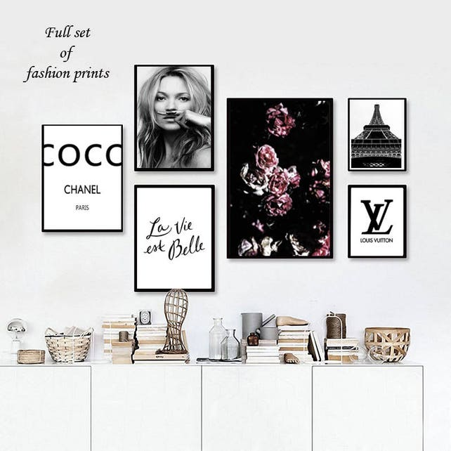 Kate moss mustache wall art Coco Chanel sign print roses | Etsy