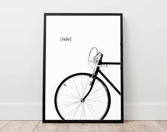 bike print, bicycle poster, cycling wall art, minimal wall decor, ride a bike digital, black and white printable art, contemporary decor