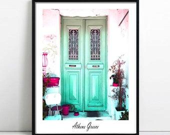 Door printable art, Greece print, Rustic Door wall art,Athens photography, green doors, teal wall decor, door Athens anafiotika digital art