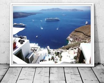 Santorini Print Greece photography Sea Print Mediterranean wall decor island Print Coastal Photography Santorini wall art digital print