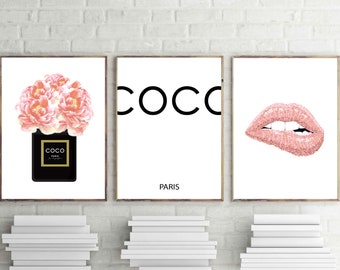 Coco channel prints, blush pink wall art, set of 3, cch perfume, coral pink flowers, fashion poster, cch sign, pink lips print, vanity decor
