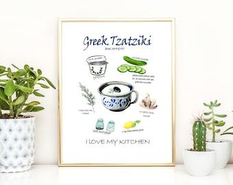 recipe print Kitchen art food print tzatziki watercolor wall art Greece print Greek tzatziki poster kitchen wall decor minimal home decor