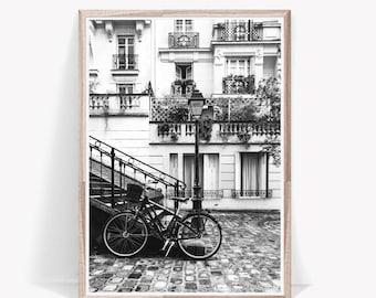 Paris art print, Paris photography, black and white, bike wall art, Paris wall decor, urban art decor, architecture poster, building digital
