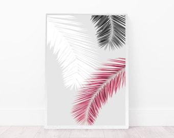 palm leaves art print, abstract wall art, palm leaves art decor, digital download, blush pink print, living room poster, grey, minimal art
