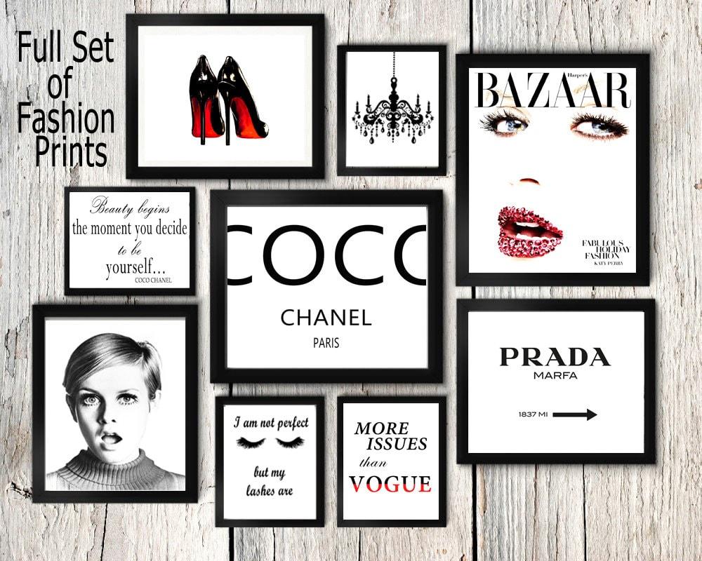 2e971b43995cf Fashion set prints Coco Chanel print twiggy wall art | Etsy