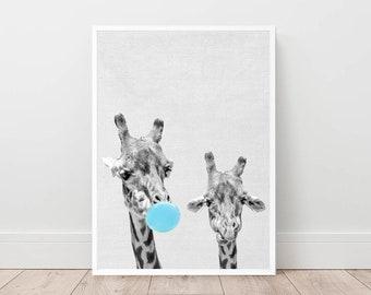 Giraffes print, nursery wall art, giraffe bubble gum poster, bubble gum wall decor, funny wall art, safari animals, boy's room digital art