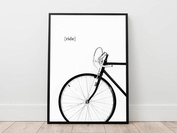 bike print bicycle poster cycling wall art minimal wall | Etsy