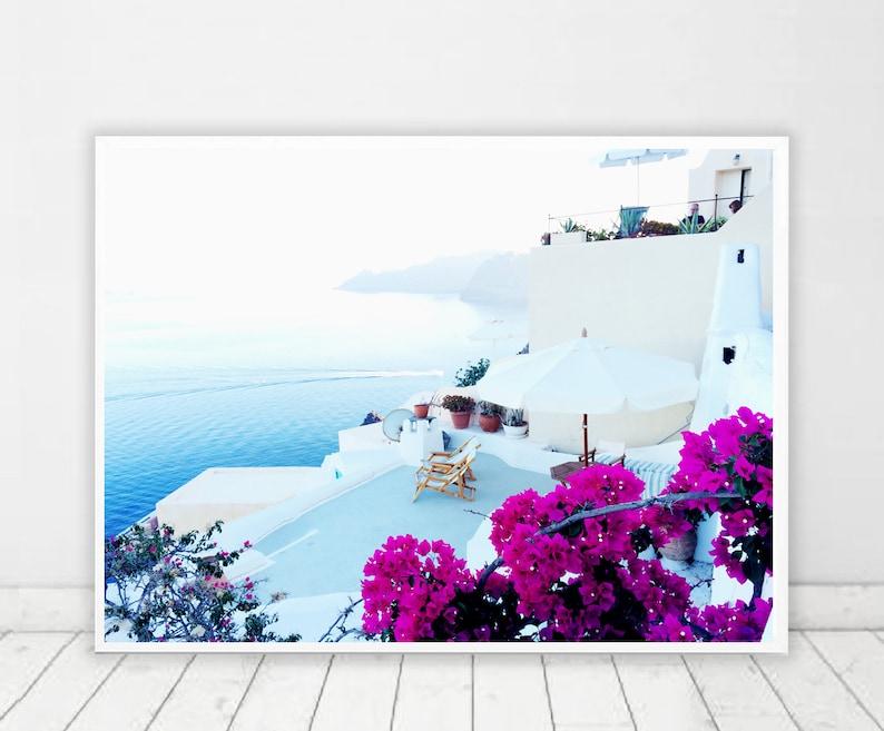 Santorini Print Greece Photography Santorini wall art Relax image 0
