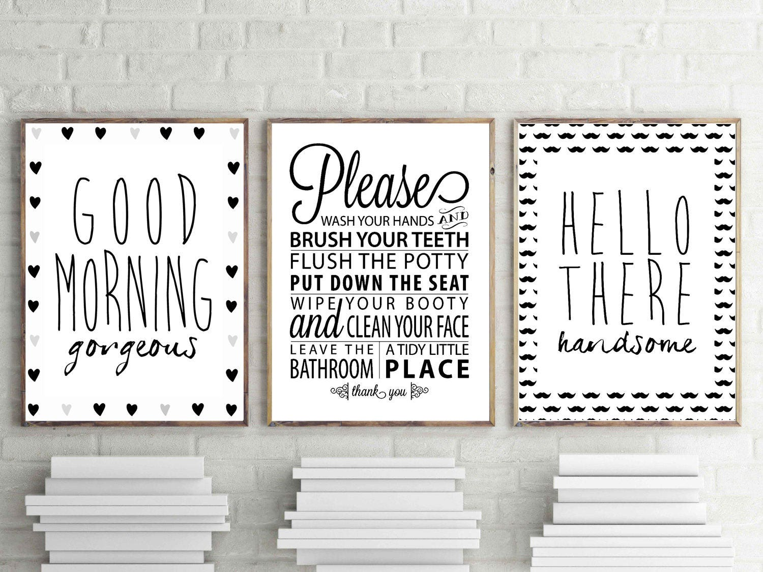 Bathroom Wall Art Goodmorning Gorgeous Print Hello