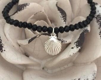 Pearl bracelet shell black/silver