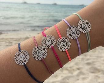 Filigree bracelet mandala silver, gold or rose gold with nylon strap