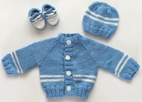 1347d27d4 Blue and White Baby Sweater Hat and Shoes Set