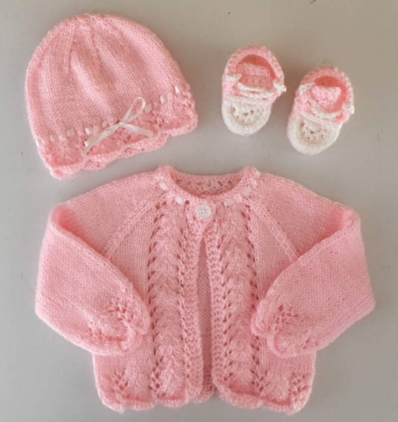 b099c5d9d Pink Baby Sweater Hat and Shoe Set