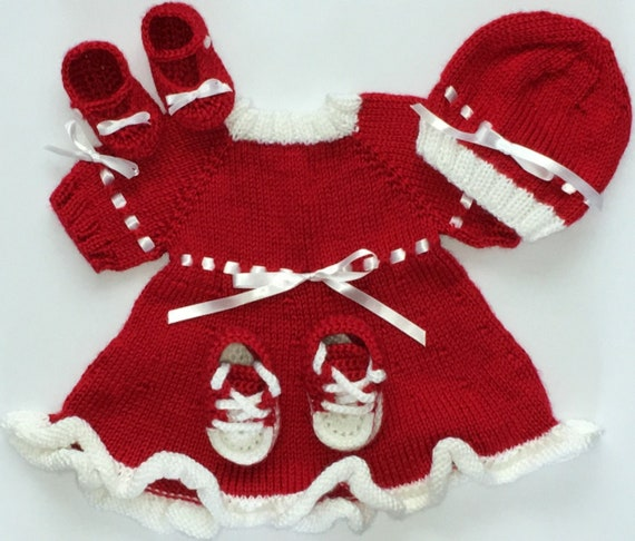 141d53c12 Red and White Holiday Baby Sweater Dress Hat and Two Pairs