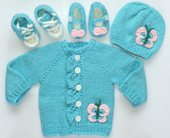 fcc101c75 Teal Butterfly and Leaf Baby Sweater Hat and Two Pairs of