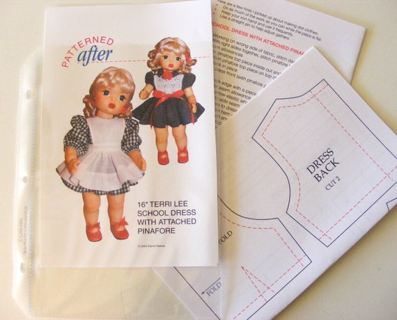 """SCHOOL DRESS WITH ATTACHED PINAFORE CLOTHING PATTERN FOR 16/"""" TERRI LEE DOLL"""