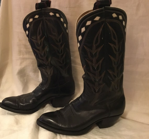 1940s Amazing stitched black leather cowboy boots