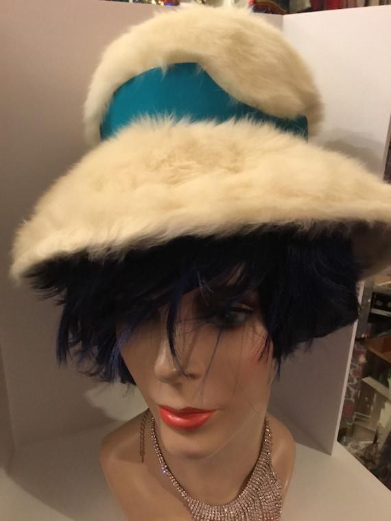 1960s Schiaparelli hat with fur fiber