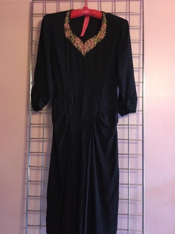 Early 40s Rayon Crepe Beaded Dress
