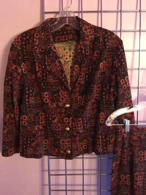 1960s Paisley Floral Corduroy suit