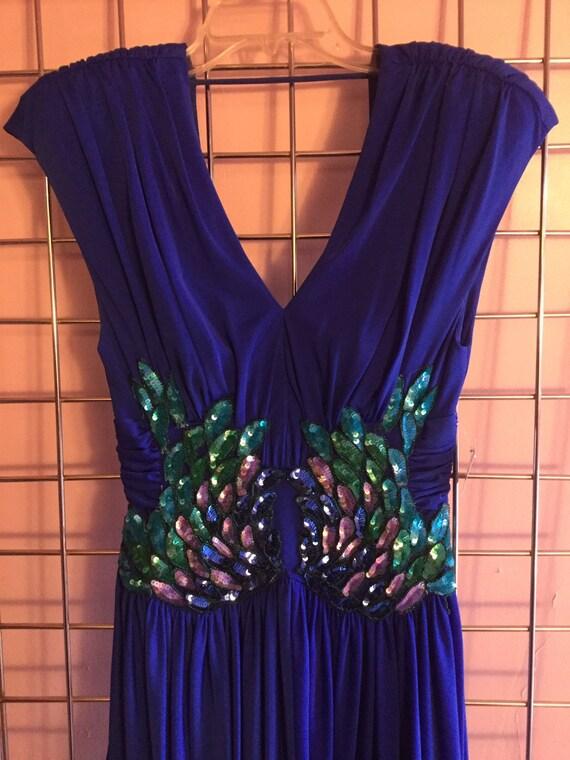 1980's Blue Sequin Dress