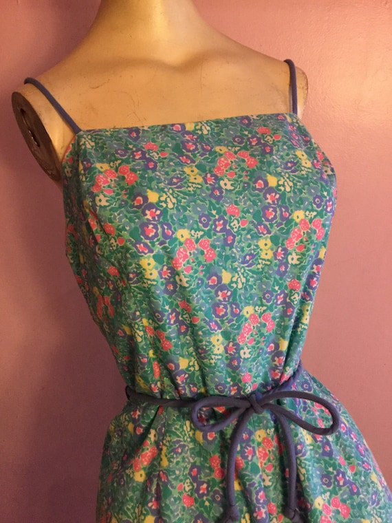Watercolor Sea Waves 1960s Romper